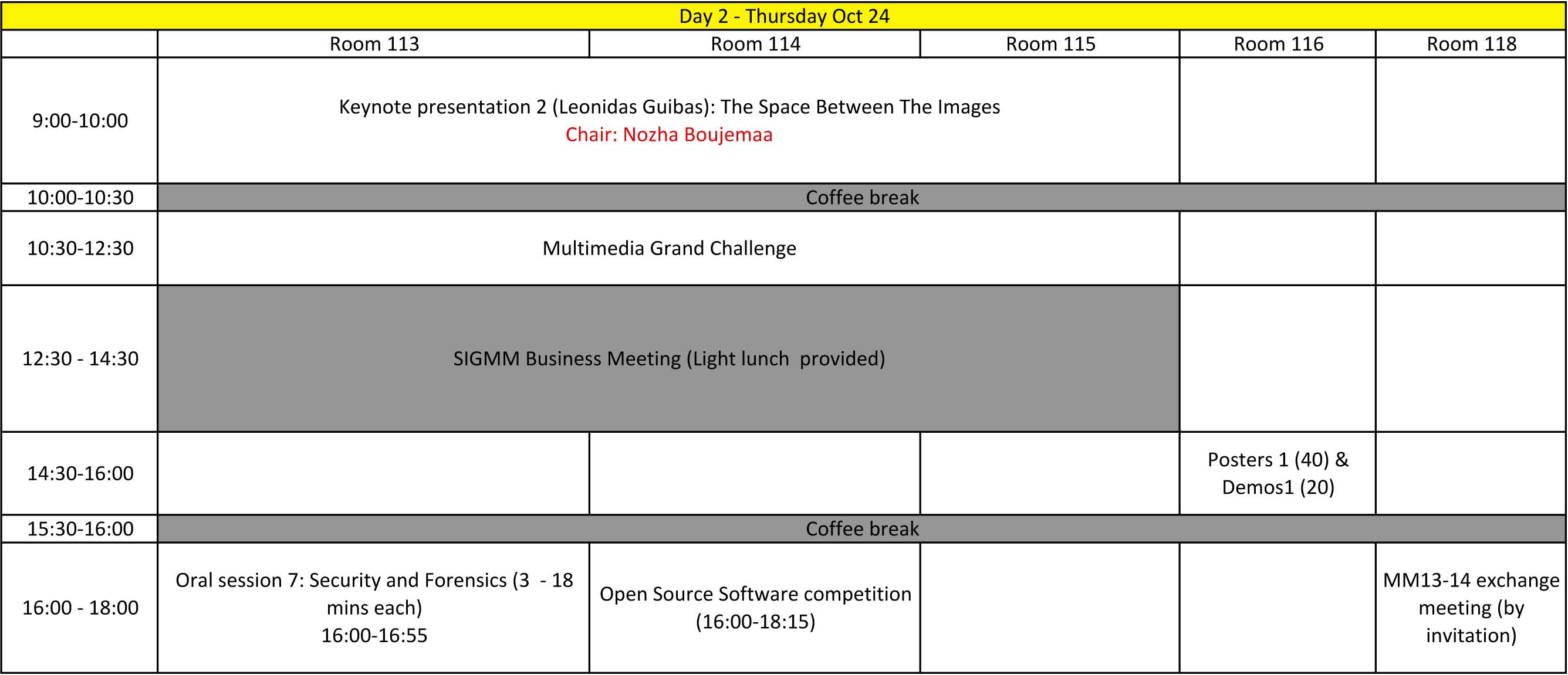 Conference Day 2 Schedule Acm Mm 13